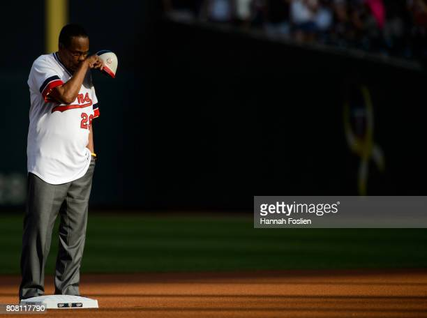 Hall of Fame player Rod Carew is honored in a ceremony before the game between the Minnesota Twins and the Los Angeles Angels of Anaheim on July 3...