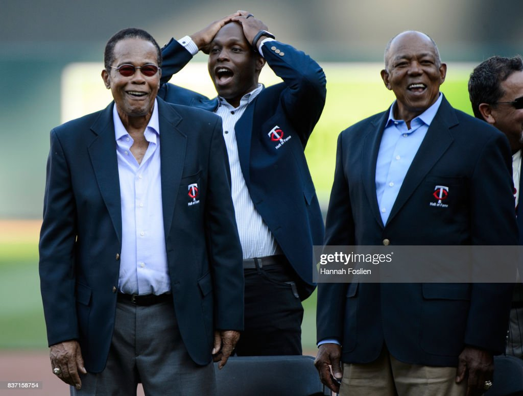 Hall of Fame player Rod Carew looks on with other former Minnesota Twins players Torii Hunter and Tony Oliva before the game between the Minnesota Twins and the Arizona Diamondbacks on August 19, 2017 at Target Field in Minneapolis, Minnesota. The Twins defeated the Diamondbacks 5-0.