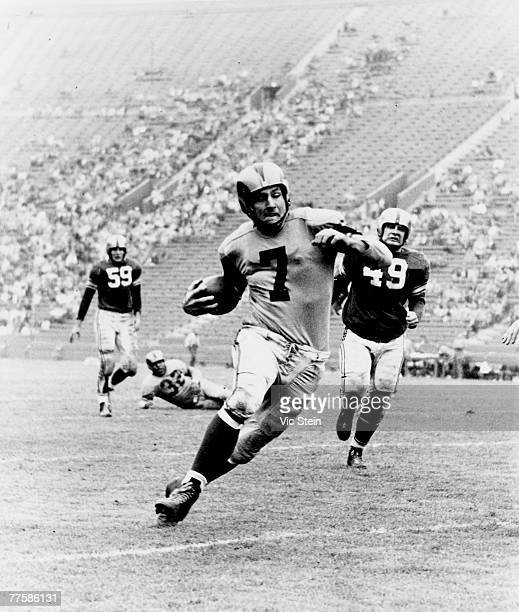 Hall of Fame quarterback Bob Waterfield runs upfield in a 70 to 27 win over the Baltimore Colts on October 22 1950 at Los Angeles Memorial Colesium...