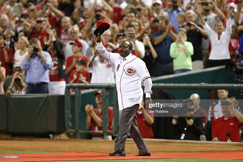 Hall of fame second baseman <a gi-track='captionPersonalityLinkClicked' href=/galleries/search?phrase=Joe+Morgan&family=editorial&specificpeople=208135 ng-click='$event.stopPropagation()'>Joe Morgan</a> acknowledges the crowd in a ceremony following the game between the Cincinnati Reds and Los Angeles Dodgers at Great American Ball Park on September 6, 2013 in Cincinnati, Ohio. The Reds won 3-2.