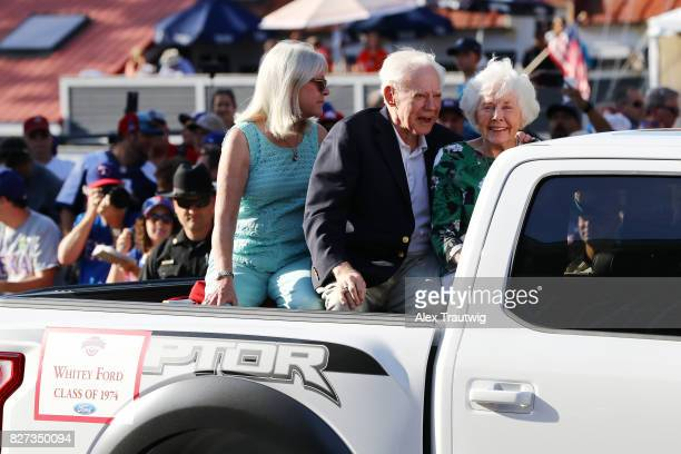 Hall of Fame Whitey Ford arrives during the 2017 Hall of Fame Parade of Legends at the National Baseball Hall of Fame on Saturday July 29 2017 in...