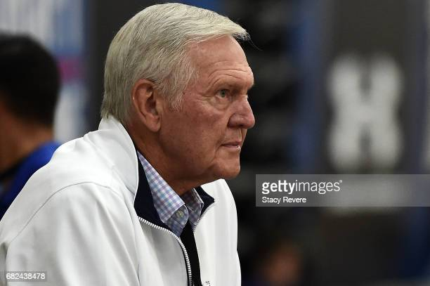 Hall of Famer and current executive board member of the Golden State Warriors Jerry West watches action during Day Two of the NBA Draft Combine at...