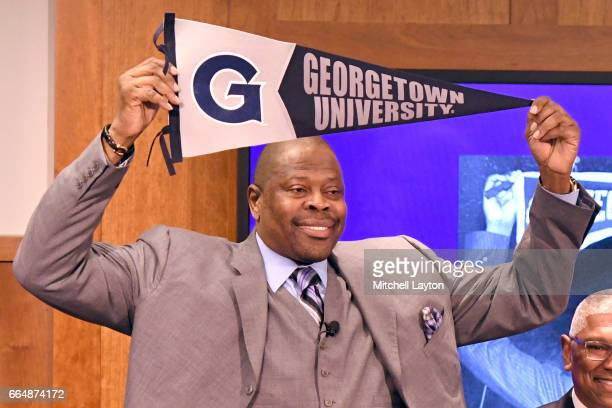 Hall of Famer and former Georgetown Hoyas player Patrick Ewing is introduced as the Georgetown Hoyas' new head basketball coach John Thompson Jr...