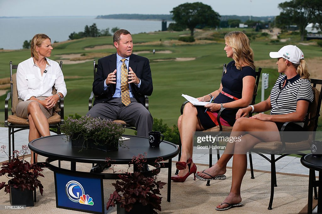 Hall of Famer <a gi-track='captionPersonalityLinkClicked' href=/galleries/search?phrase=Annika+Sorenstam&family=editorial&specificpeople=201780 ng-click='$event.stopPropagation()'>Annika Sorenstam</a>, LPGA commissioner Mike Whan, Kelly Tilghman of Golf Channel and LPGA player <a gi-track='captionPersonalityLinkClicked' href=/galleries/search?phrase=Cristie+Kerr&family=editorial&specificpeople=213495 ng-click='$event.stopPropagation()'>Cristie Kerr</a> discuss the state of the LPGA Tour after a practice round prior to the start of the 2013 U.S. Women's Open at Sebonack Golf Club on June 26, 2013 in Southampton, New York.