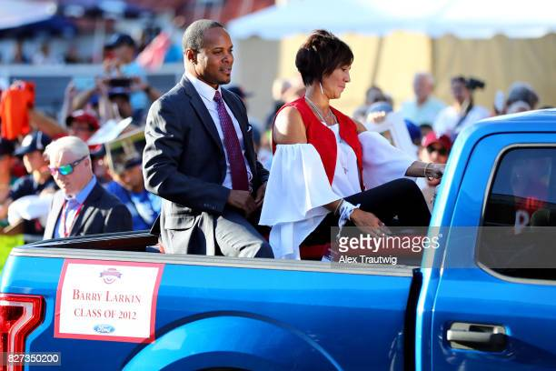 Hall of Famer Barry Larkin arrives during the 2017 Hall of Fame Parade of Legends at the National Baseball Hall of Fame on Saturday July 29 2017 in...