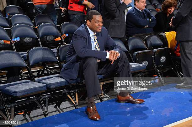 Hall of Famer Bernard King sits on the sideline before the game between the Sacramento Kings and the New York Knicks on February 12 2014 at Madison...