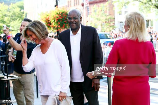 Hall of Famer Bob Gibson arrives during the 2017 Hall of Fame Parade of Legends at the National Baseball Hall of Fame on Saturday July 29 2017 in...