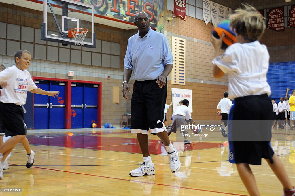 Hall of Famer Bob Lanier participates in the Jr. NBA/Jr. WNBA basketball camp on July 24, 2008 at the Centennial High School campus in Peoria, Arizona.