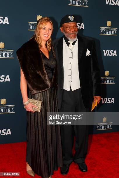 Hall of Famer Carl Eller and his wife on the Red Carpet at the 2017 NFL Honors on February 04 at the Wortham Theater Center in Houston Texas