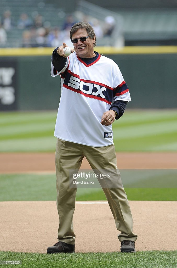 Hall of Famer Carlton Fisk throws out the first pitch before the game between the Chicago White Sox and the Tampa Bay Rays on April 28, 2013 at U.S. Cellular Field in Chicago, Illinois.