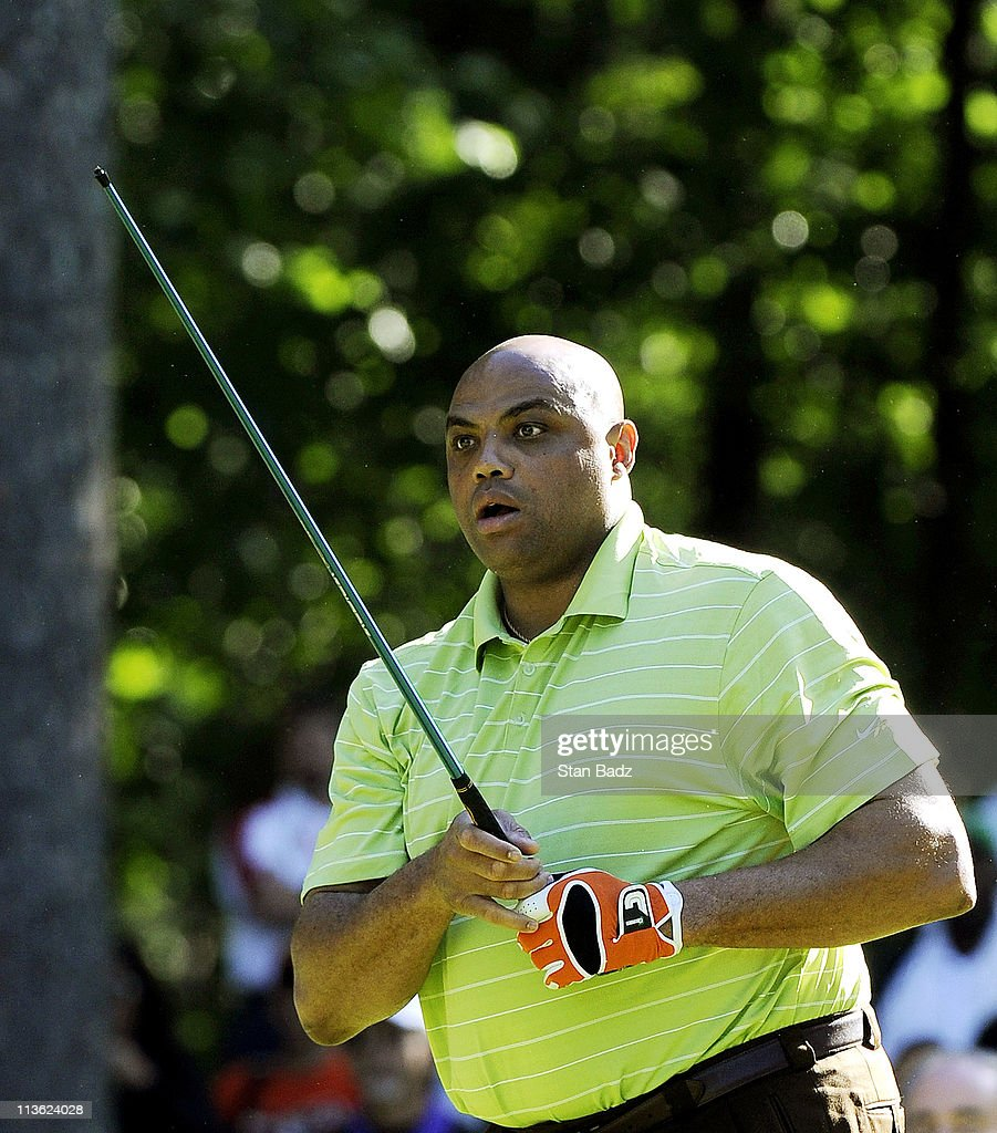 NBA Hall of Famer <a gi-track='captionPersonalityLinkClicked' href=/galleries/search?phrase=Charles+Barkley&family=editorial&specificpeople=202484 ng-click='$event.stopPropagation()'>Charles Barkley</a> watches his broken club head tumble down the first fairway during the Regions Tradition NCR Pro-Am at Shoal Creek on May 4, 2011 in Birmingham, Alabama.