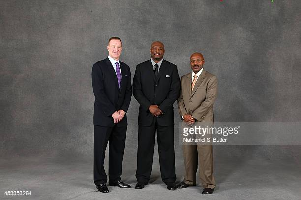 Hall of Famer Chris Mullin Inductee Mitch Richmond and Tim Hardaway poses for portraits as part of the 2014 Basketball Hall of Fame Enshrinement...