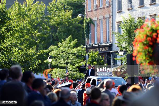 Hall of Famer Craig Biggio arrives during the 2017 Hall of Fame Parade of Legends at the National Baseball Hall of Fame on Saturday July 29 2017 in...