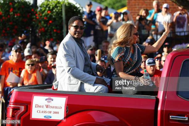 Hall of Famer Dave Winfield arrives during the 2017 Hall of Fame Parade of Legends at the National Baseball Hall of Fame on Saturday July 29 2017 in...