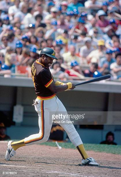 Hall of Famer Dave Winfield of the San Diego Padres bats at Shea Stadium against the New York Mets during in Flushing New York