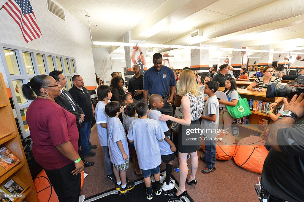 Hall of Famer David Robinson of the San Antonio Spurs interacts with the kids at the 2013 NBA Cares Legacy Project as part of the 2013 NBA Finals on June 7, 2013 at the Wheatley Middle School in San Antonio, Texas.