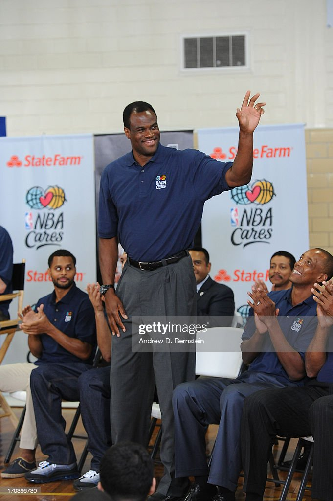 Hall of Famer David Robinson of the San Antonio Spurs is introduced at the 2013 NBA Cares Legacy Project as part of the 2013 NBA Finals on June 7, 2013 at the Wheatley Middle School in San Antonio, Texas.
