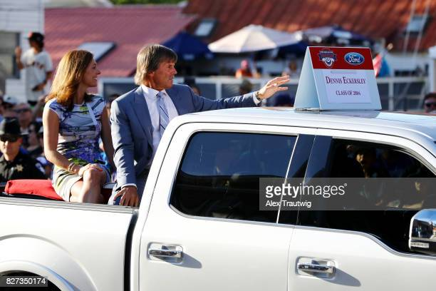 Hall of Famer Dennis Eckersley arrives during the 2017 Hall of Fame Parade of Legends at the National Baseball Hall of Fame on Saturday July 29 2017...