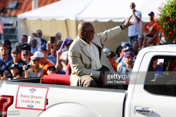 Hall of Famer Fergie Jenkins arrives during the 2017 Hall of Fame Parade of Legends at the National Baseball Hall of Fame on Saturday July 29 2017 in...