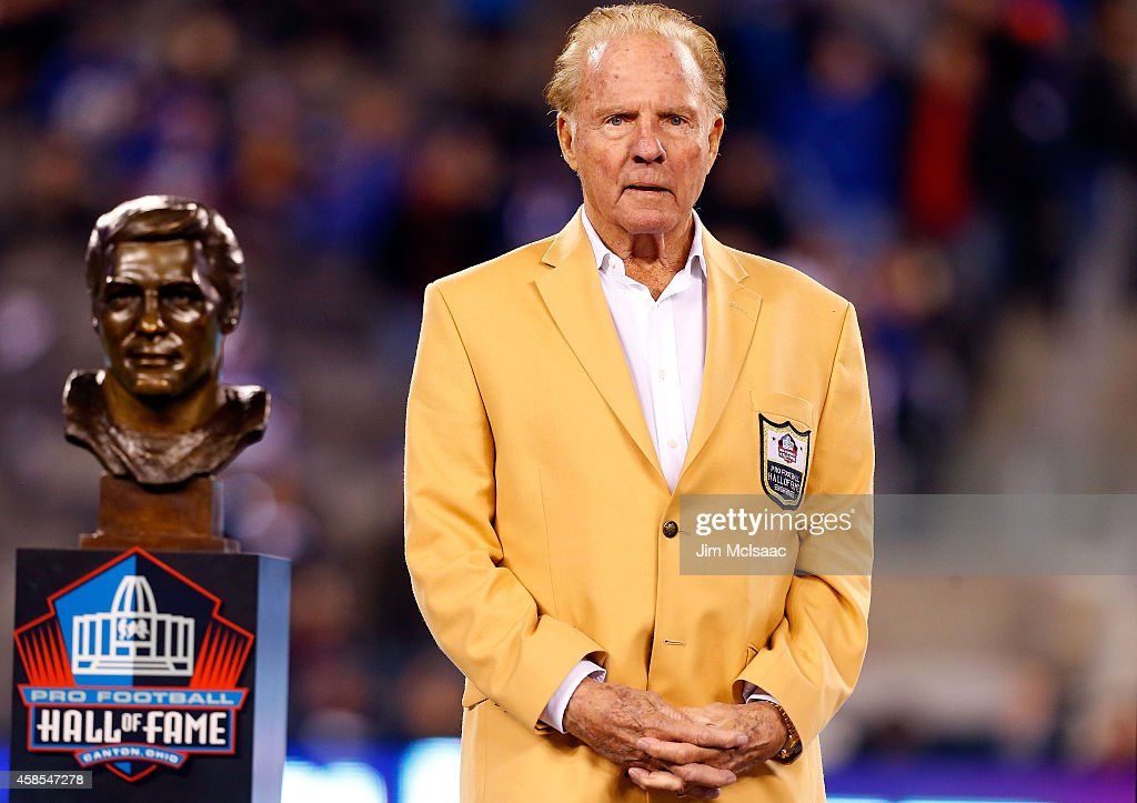 Hall of Famer <a gi-track='captionPersonalityLinkClicked' href=/galleries/search?phrase=Frank+Gifford&family=editorial&specificpeople=214258 ng-click='$event.stopPropagation()'>Frank Gifford</a> looks on during a halftime ceremony of a game between the New York Giants and the Indianapolis Colts on November 3, 2014 at MetLife Stadium in East Rutherford, New Jersey. The Colts defeated the Giants 40-24.