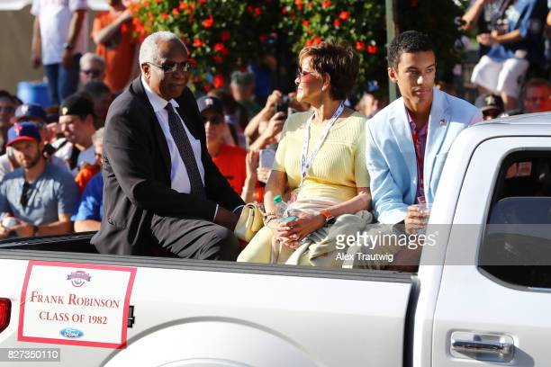 Hall of Famer Frank Robinson arrives during the 2017 Hall of Fame Parade of Legends at the National Baseball Hall of Fame on Saturday July 29 2017 in...