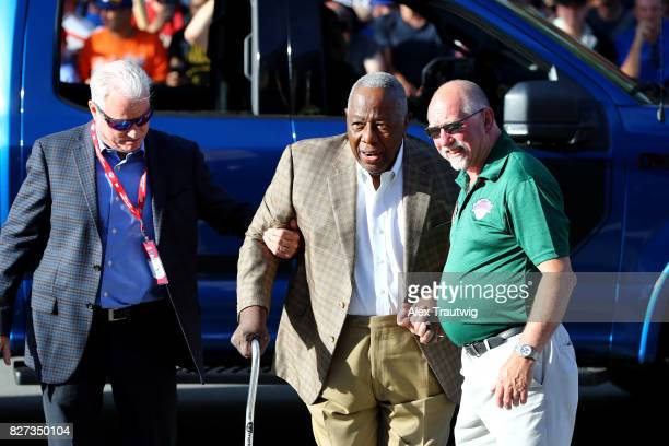 Hall of Famer Hank Aaron arrives during the 2017 Hall of Fame Parade of Legends at the National Baseball Hall of Fame on Saturday July 29 2017 in...