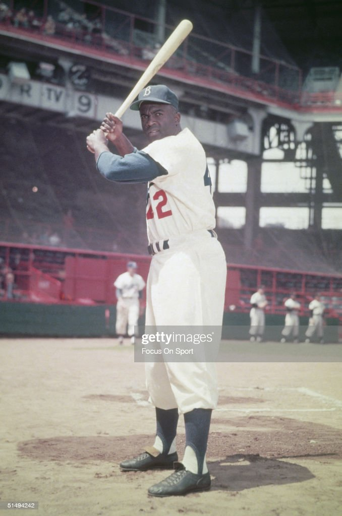 Hall of famer <a gi-track='captionPersonalityLinkClicked' href=/galleries/search?phrase=Jackie+Robinson&family=editorial&specificpeople=93570 ng-click='$event.stopPropagation()'>Jackie Robinson</a> #42 of the Brooklyn Dodgers poses for the camera at Ebbits Field during the 1950s in Brooklyn, New York.