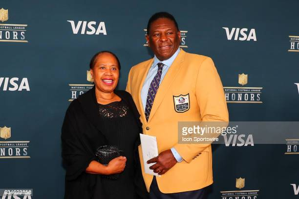 Hall of Famer Jackie Slater and his wife on the Red Carpet at the 2017 NFL Honors on February 04 at the Wortham Theater Center in Houston Texas