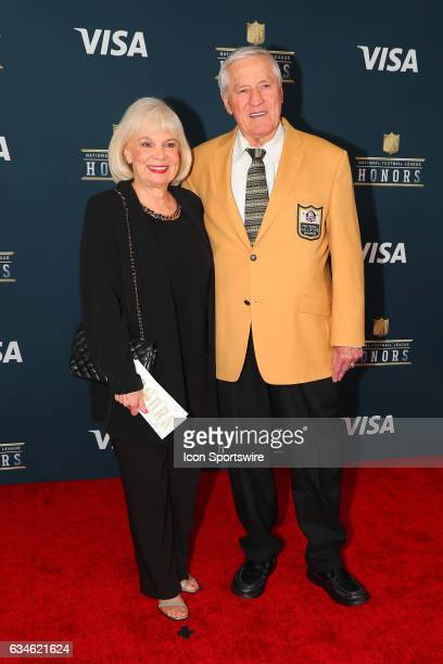 Hall of Famer Jim Taylor and his wife on the Red Carpet at the 2017 NFL Honors on February 04 at the Wortham Theater Center in Houston Texas