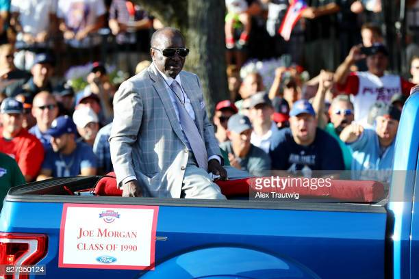 Hall of Famer Joe Morgan arrives during the 2017 Hall of Fame Parade of Legends at the National Baseball Hall of Fame on Saturday July 29 2017 in...