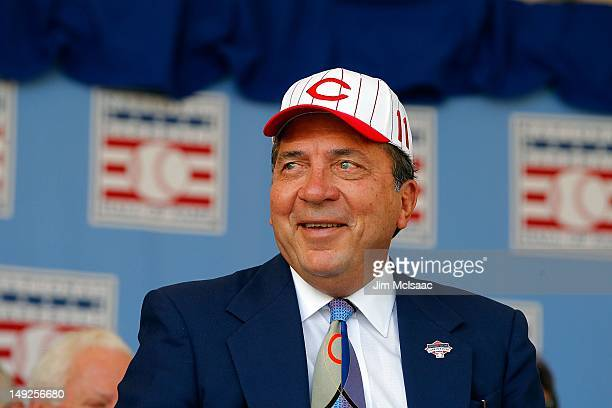 Hall of Famer Johnny Bench is introduced at Clark Sports Center during the Baseball Hall of Fame induction ceremony on July 22 2012 in Cooperstown...
