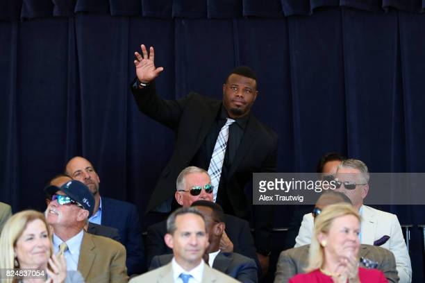 Hall of Famer Ken Griffey Jr acknowledges the crowd during the 2017 Hall of Fame Awards Presentation on Doubleday Field at the National Baseball Hall...
