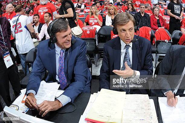 Hall of famer Kevin McHale speaks with Marv Albert in Game One of the Western Conference Quarterfinals between the Portland Trail Blazers and Los...