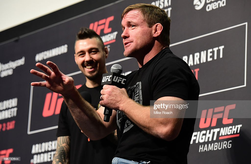 Hall of Famer Matt Hughes answers questions for fans and media during a Q&A before the UFC Fight Night Weigh-in held at Barclaycard Arena on September 2, 2016 in Hamburg, Germany.
