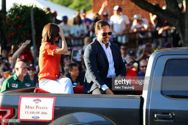 Hall of Famer Mike Piazza arrives during the 2017 Hall of Fame Parade of Legends at the National Baseball Hall of Fame on Saturday July 29 2017 in...
