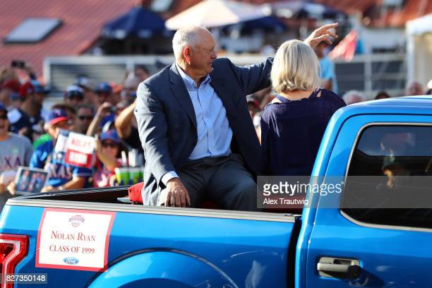Hall of Famer Nolan Ryan arrives during the 2017 Hall of Fame Parade of Legends at the National Baseball Hall of Fame on Saturday July 29 2017 in...