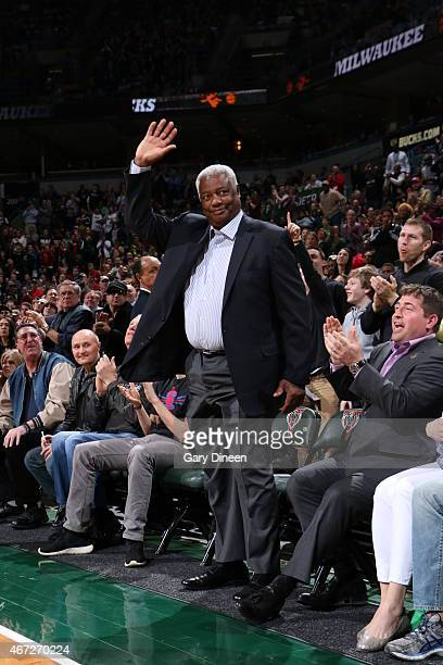 Hall of Famer Oscar Robertson during the game between the Cleveland Cavaliers and Milwaukee Bucks on March 22 2015 at BMO Harris Bradley Center in...