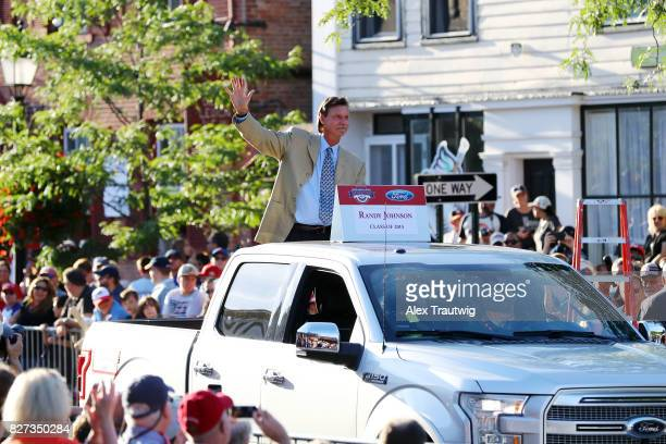 Hall of Famer Randy Johnson arrives during the 2017 Hall of Fame Parade of Legends at the National Baseball Hall of Fame on Saturday July 29 2017 in...
