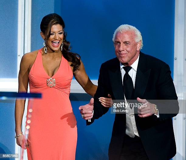 Hall of Famer Ric Flair inducts 2009 inductee Ricky 'The Dragon' Steamboat at the 25th Anniversary of WrestleMania's WWE Hall of Fame at the Toyota...