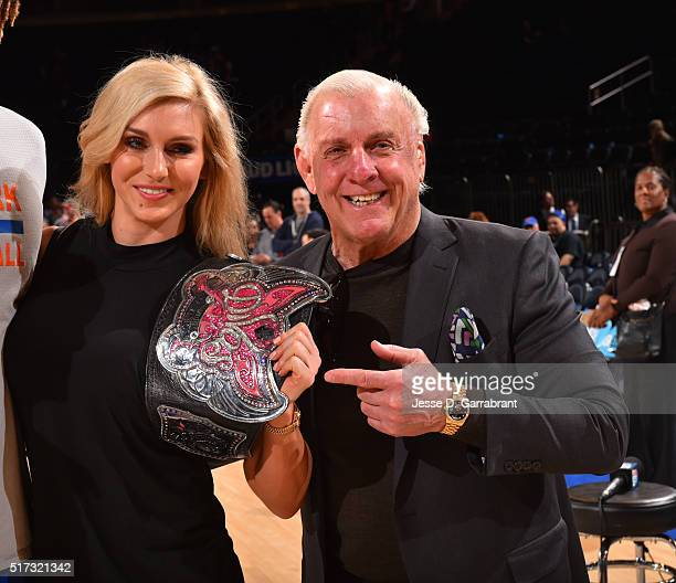 Hall of Famer Rick Flair and Michele McCool pose for a picture prior to the New York Knicks against the Chicago Bulls at Madison Square Garden on...