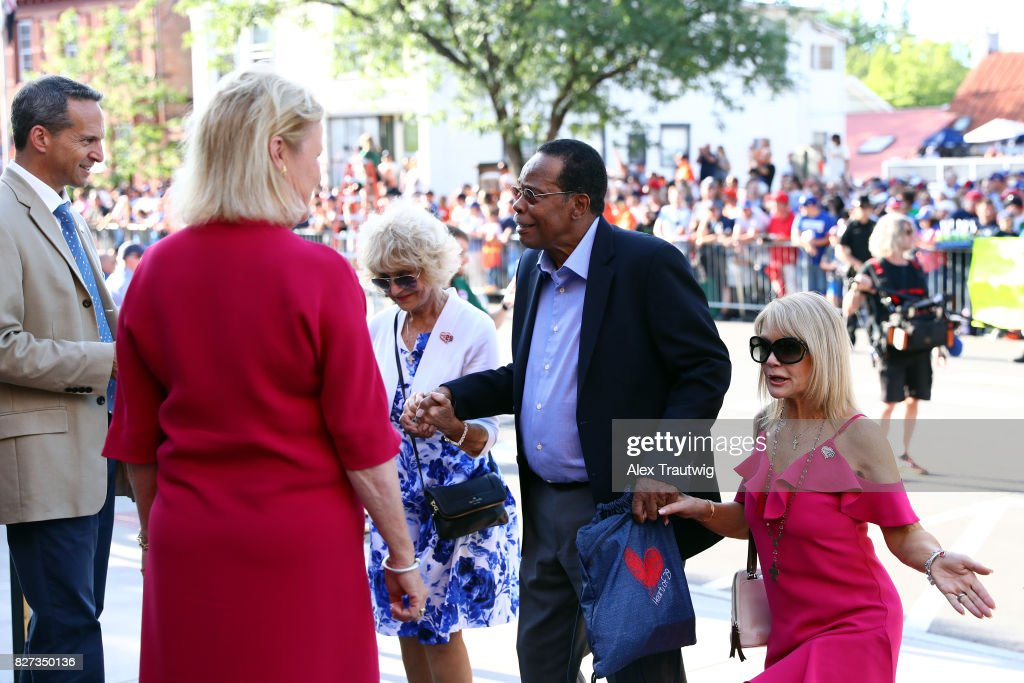 Hall of Famer Rod Carew arrives during the 2017 Hall of Fame Parade of Legends at the National Baseball Hall of Fame on Saturday July 29, 2017 in Cooperstown, New York.