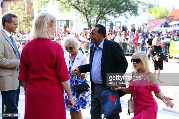 Hall of Famer Rod Carew arrives during the 2017 Hall of Fame Parade of Legends at the National Baseball Hall of Fame on Saturday July 29 2017 in...