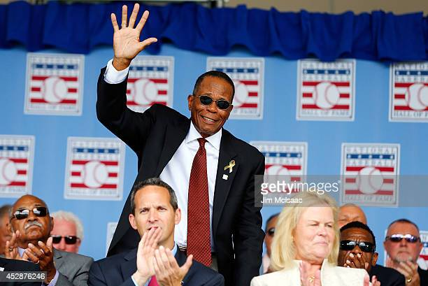 Hall of Famer Rod Carew is introduced during the Baseball Hall of Fame induction ceremony at Clark Sports Center on July 27 2014 in Cooperstown New...