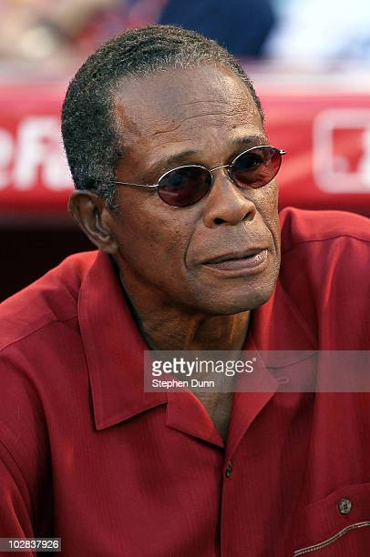 Hall of Famer Rod Carew looks on during the 2010 State Farm Home Run Derby during AllStar Weekend at Angel Stadium of Anaheim on July 12 2010 in...