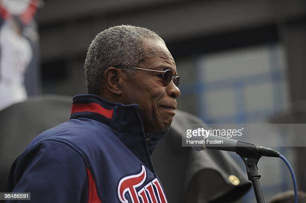 Hall of Famer Rod Carew of the Minnesota Twins speaks at the Kirby Puckett statue unveiling prior to a game between the Boston Red Sox and Minnesota...