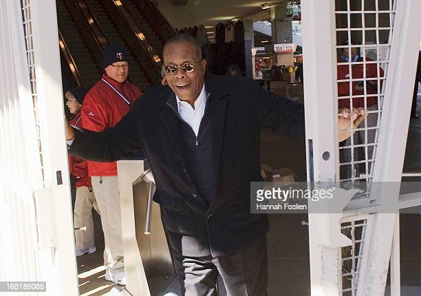 Hall of Famer Rod Carew opens the gates before the Opening Day game between the Minnesota Twins and the Detroit Tigers on April 1 2013 at Target...