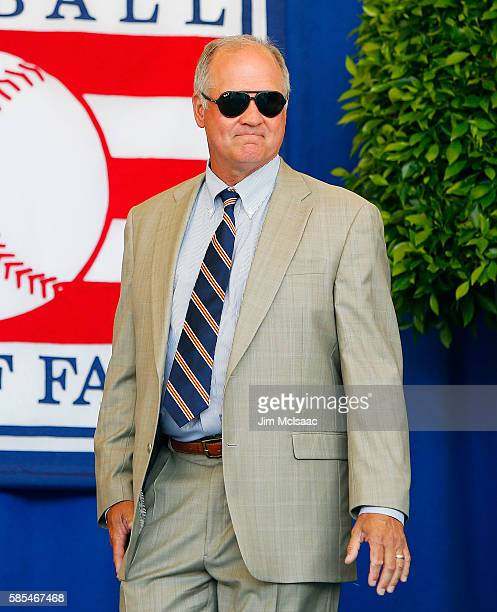 Hall of Famer Ryne Sandberg is introduced at Clark Sports Center during the Baseball Hall of Fame induction ceremony on July 24 2016 in Cooperstown...