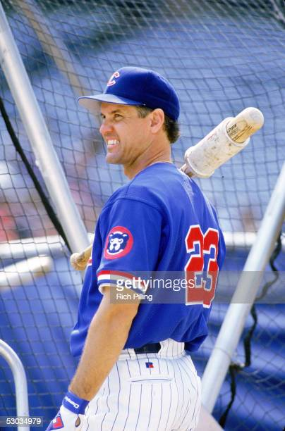 Hall of Famer Ryne Sandberg looks on before a season game Sandberg played for the Cubs from 198297