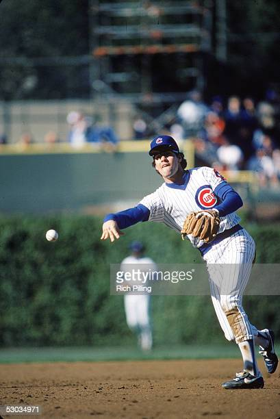 Hall of Famer Ryne Sandberg throws the ball during a 1984 season game at Wrigley Field in Chicago Illinois Sandberg played for the Cubs from 198297