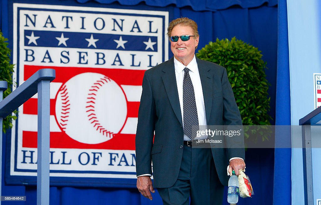 Hall of Famer Steve Carlton is introduced at Clark Sports Center during the Baseball Hall of Fame induction ceremony on July 24, 2016 in Cooperstown, New York.